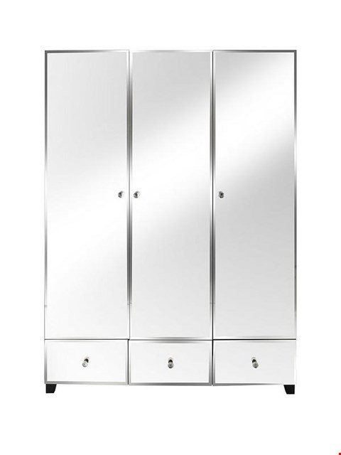 Lot 7048 BOXED GRADE 1 BELLAGIO 3-DOOR 3-DRAWER WHITE/MIRROR WARDROBE (3 BOXES)