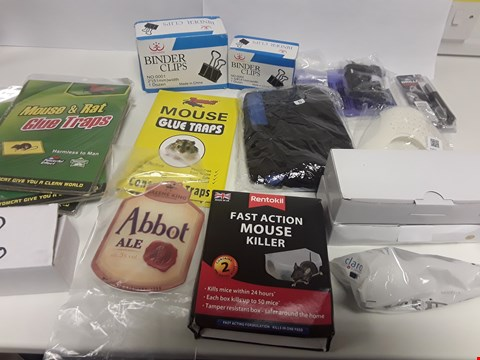 Lot 6534 BOX OF APPROXIMATELY 28 ASSORTED ITEMS TO INCLUDE MOUSE KILLER, BINDER CLIPS ETC